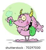 happy monster holding a green... | Shutterstock . vector #70297030