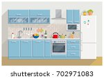 kitchen modern furniture home... | Shutterstock . vector #702971083