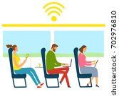 people in train using their... | Shutterstock .eps vector #702976810