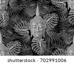 seamless hippie pattern with...   Shutterstock .eps vector #702991006