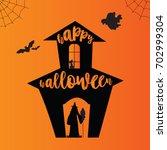 happy halloween card. vector... | Shutterstock .eps vector #702999304