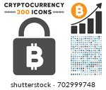 bitcoin lock icon with 300... | Shutterstock .eps vector #702999748