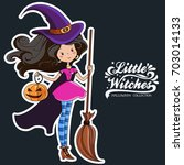 little witch. halloween witch.... | Shutterstock . vector #703014133