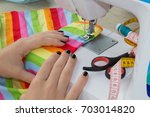workplace of tailor. people ... | Shutterstock . vector #703014820