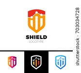 orange color rate shield secure ... | Shutterstock .eps vector #703034728