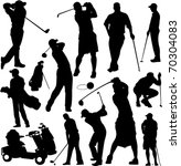 golf players and equipment... | Shutterstock .eps vector #70304083