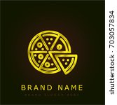 pizza golden metallic logo | Shutterstock .eps vector #703057834