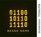 binary code golden metallic logo