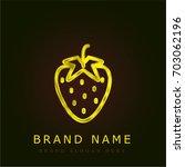 strawberry golden metallic logo