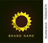 shining sun golden metallic logo