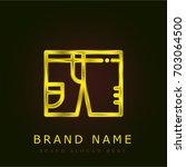 swimsuit golden metallic logo