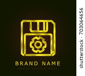 save golden metallic logo