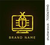 virus golden metallic logo