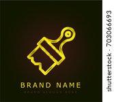 paint brush golden metallic logo