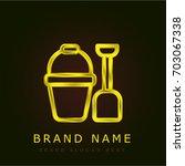 sand bucket golden metallic logo