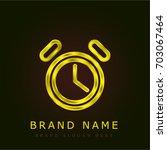 alarm clock golden metallic logo
