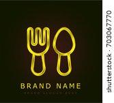cutlery golden metallic logo
