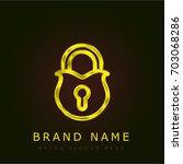 padlock golden metallic logo