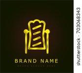 mirror golden metallic logo