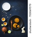 flat lay conceptual mid autumn... | Shutterstock . vector #703069570