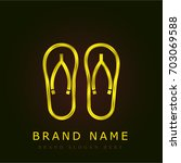 flip flops golden metallic logo
