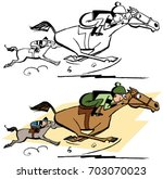 two horses running on a... | Shutterstock .eps vector #703070023