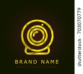 webcam golden metallic logo