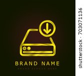 hard drive golden metallic logo