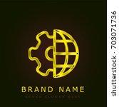 globe golden metallic logo