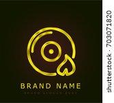 burn disc golden metallic logo