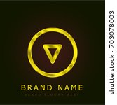 down golden metallic logo
