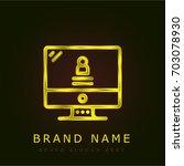 computer golden metallic logo