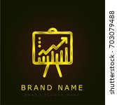 line chart golden metallic logo