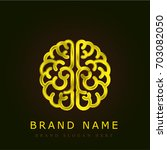 brain golden metallic logo