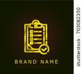 check list golden metallic logo