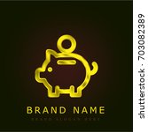 piggybank golden metallic logo