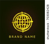 global golden metallic logo