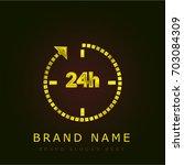 24 hours golden metallic logo