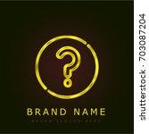 question golden metallic logo
