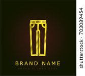 jeans golden metallic logo