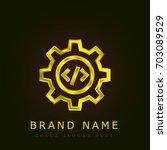 settings golden metallic logo
