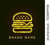burger golden metallic logo