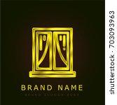 window golden metallic logo