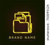 folder golden metallic logo