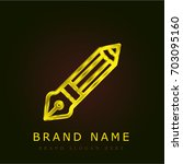 pencil golden metallic logo