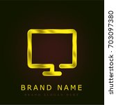 screen golden metallic logo | Shutterstock .eps vector #703097380