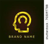 head golden metallic logo