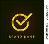 checked golden metallic logo