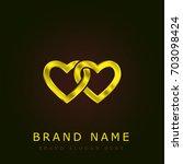 chained hearts golden metallic...