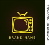 television golden metallic logo